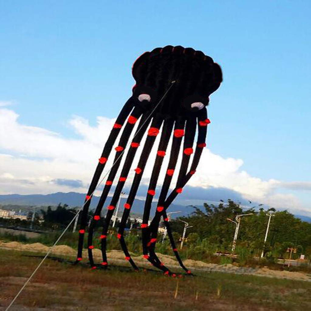 Flurries  26ft 3D Giant Black Octopus Paul Parafoil Kite - Large Big Squid with Handle Wire Loop 980ft Line - Easy Flyer - Beach Park Outdoor Games Activities Fun Toys for Kids Teenage Adults by Flurries-Toys