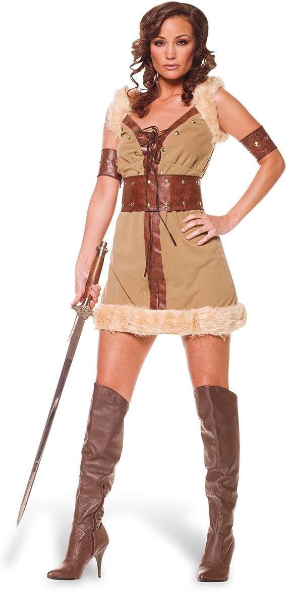 Disfraz de vikinga - vestido corto para mujer, con mangas y bajo ...