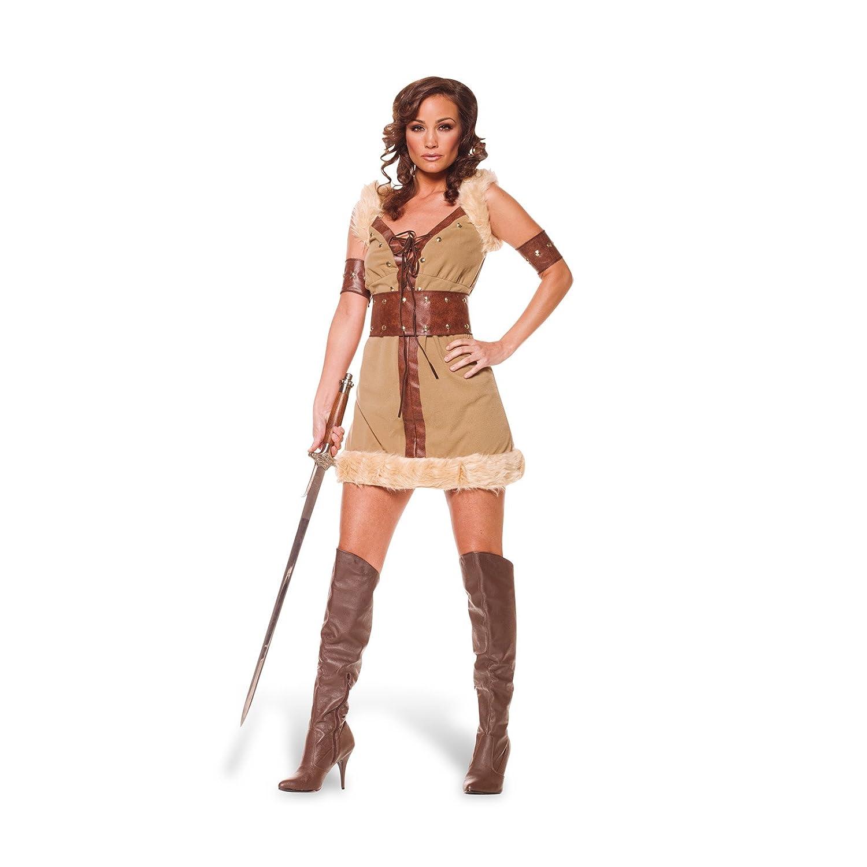 Disfraz de vikinga - vestido corto para mujer, con mangas y ...
