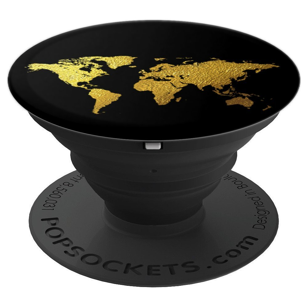 Gold Effect Map, world map, traveling, adventure, vacation - PopSockets Grip and Stand for Phones and Tablets