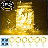 6 Pack,7Feet 20 LED Starry String Lights,Silver Wire,2pcs CR2032 Batteries Included, Firefly Fairy Lights LED Moon Lights for DIY Dinner Party,Table Decoration,Wedding Centerpiece(Warm White)