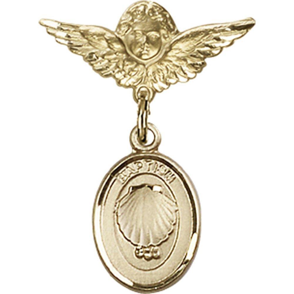ゴールドFilled Babyバッジwith洗礼チャームとエンジェルW / Wingsバッジピン1 x 3 / 4インチ   B00PQ81212