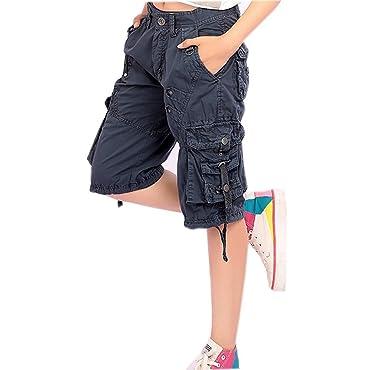 49625eee7ccd Ghope Damen Cargohose Stoffhose Cargo Hose Hüfthose Jeans 3 4 Capri Shorts  Freizeithose Multi Tasche  Amazon.de  Bekleidung