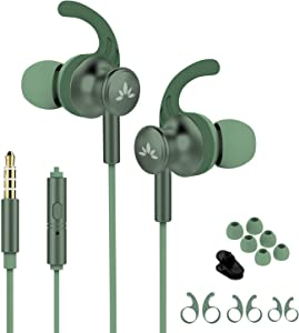 Avantree ME12 Green Sports Earbuds Wired with Microphone, Sweatproof Running Earphones with Earfin, Metal in Ear Headphones for Workout Exercise Gym, Compatible with iPhone Android Cell Phones PC