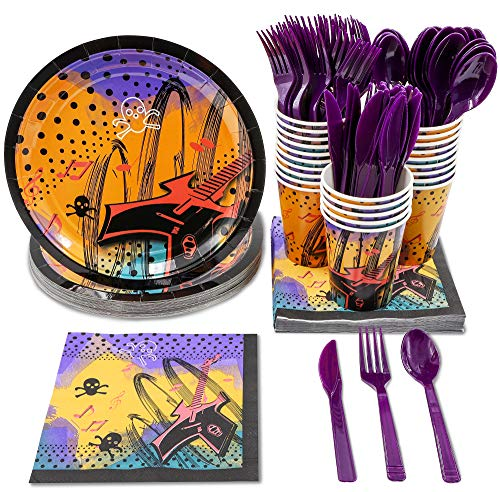 Rock Star Party Supplies - Serves 24 - Includes Plates, Knives, Spoons, Forks, Cups and Napkins. Perfect Birthday Party Pack for Rock Themed Parties, Rock Star Pattern