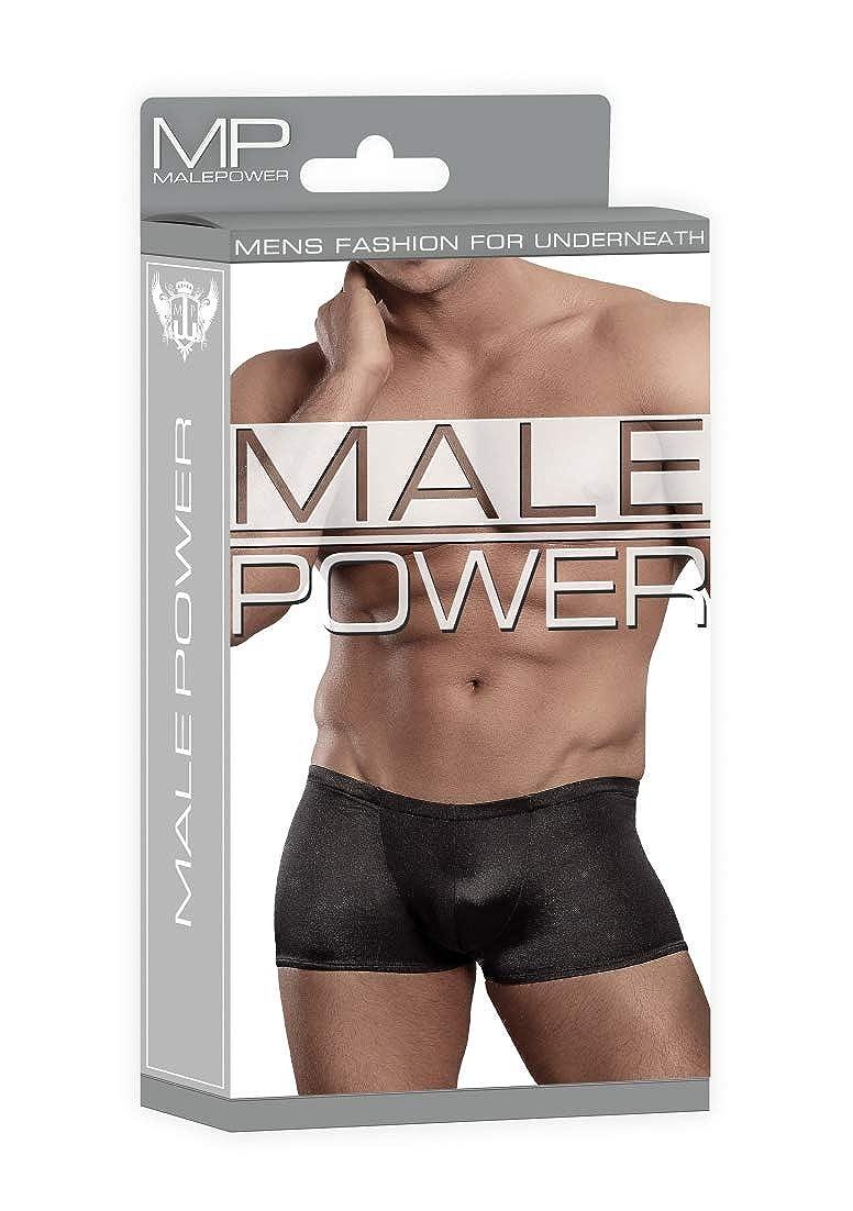 Male Power Lo Rise Satin Short Black
