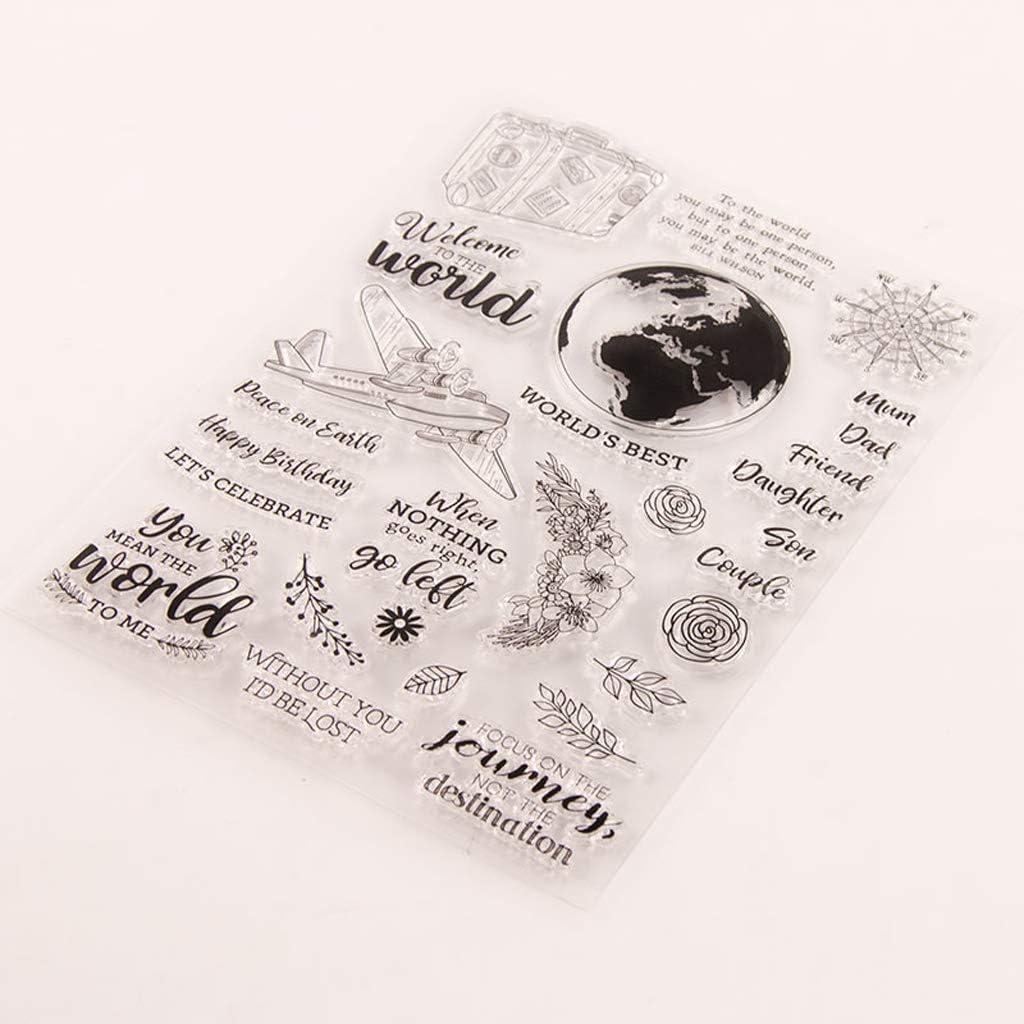 journal planificateur GuanjunLI Boussole avion de tampons transparents pour scrapbooking fabrication de cartes