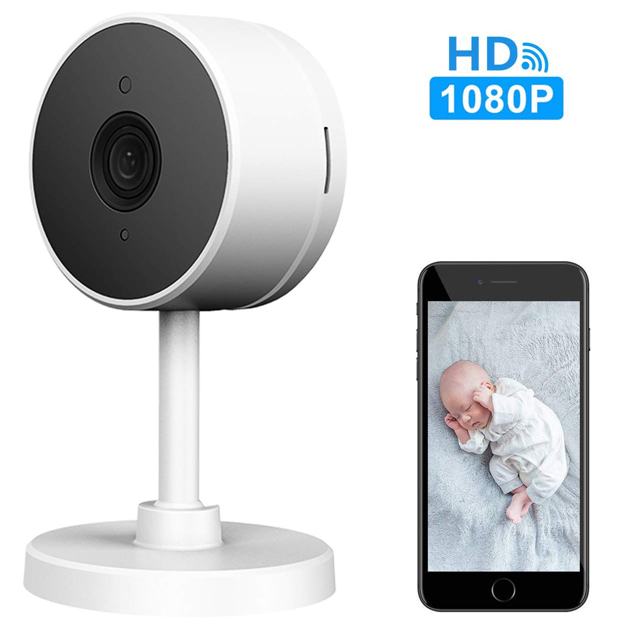LARKKEY WiFi Home Security Surveillance Camera 1080P, Smart Baby Monitor Compatible with Alexa and Google Home, Motion Detection & Tracker, Night Vision by LARKKEY (Image #1)