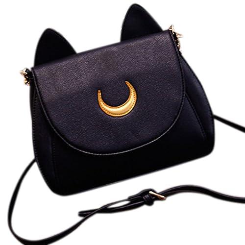 d1f6c2efc216 ShiningLove Cute Cat Ears Lady Girls Shoulder Bag Mini Chain Strap  Crossbody Handbag Black