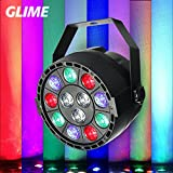 Stage Lights,GLIME 12LED RGBW Disco Party Lights Led Par lights,Magic Ball Light Projector Sound Activate DMX 512 Control Stage Lighting for KTV Bar Wedding