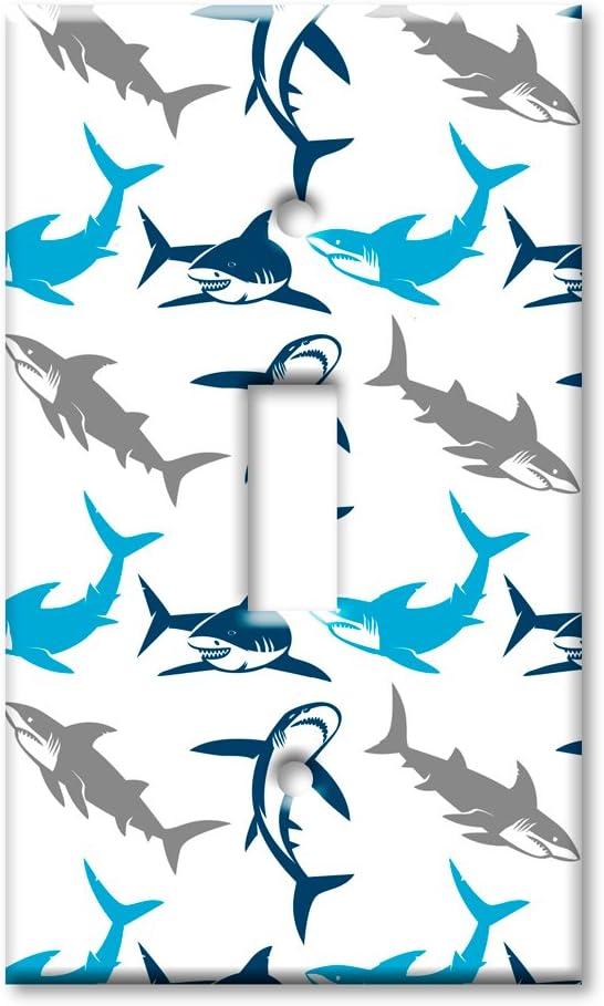 Art Plates Brand Single Toggle Switch / Wall Plate - Sharks Seamless