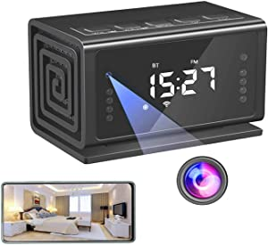 Spy Hidden Camera Clock, Spy Cam WiFi Wireless 1080P HD Mini Nanny Cam with Motion Detection, Night Vision, Bluetooth Speaker, FM Radio, Cell Phone App for Home Security Camera (No Sound Recording)