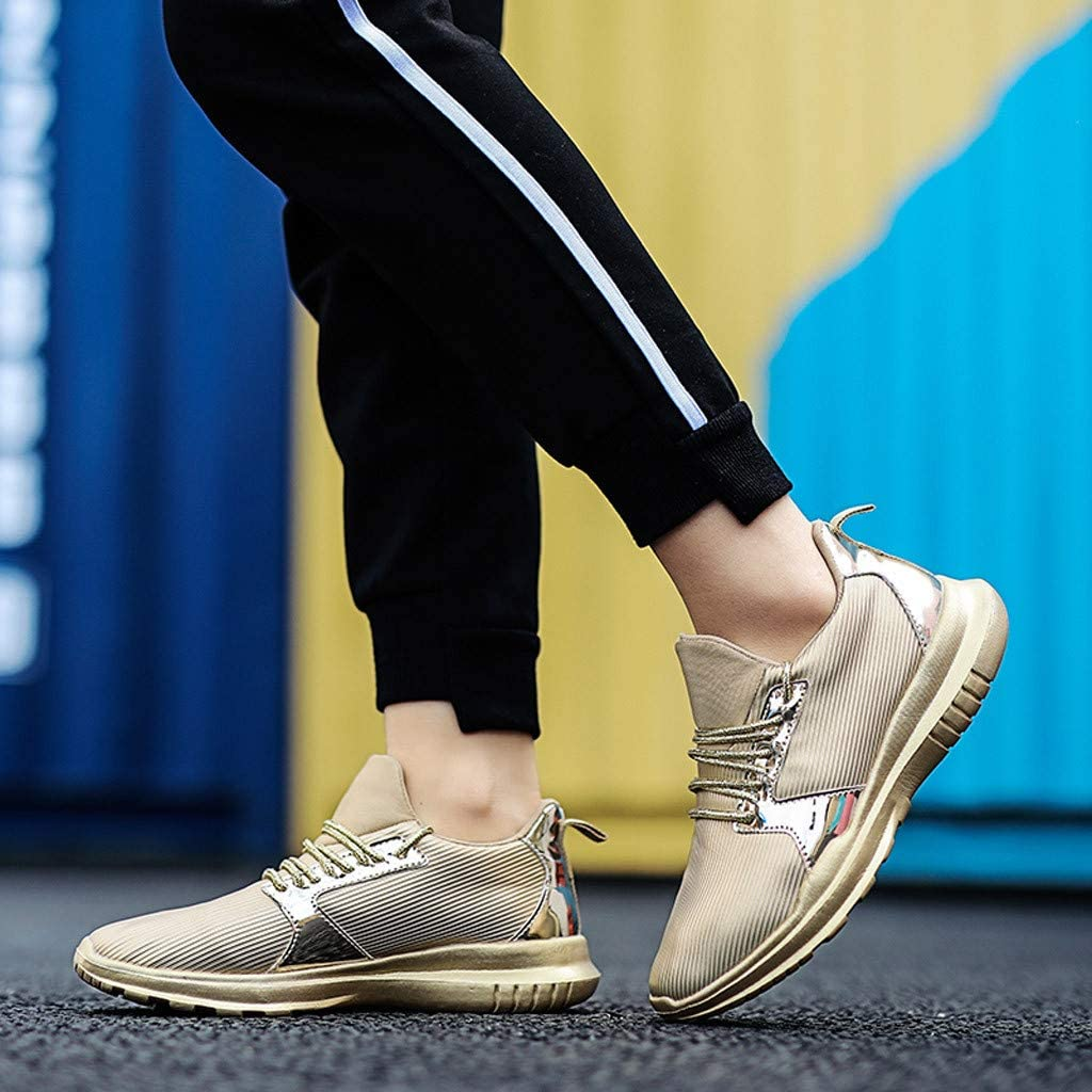 KEYIA Femme Baskets Mode Tresse de Sport en Dentelle Respirante Classic Sneakers Basses Cuir PU Chaussures Sports Or