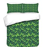 iPrint Duvet Cover Set,Green,Tropical Island Forest Theme with Palm Trees Exotic Hawaii Nature Jungle Decorative,Jade Green Lime Green,Best Bedding Gifts for Family Or Friends