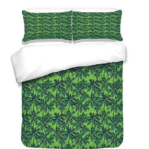 iPrint Duvet Cover Set,Green,Tropical Island Forest Theme with Palm Trees Exotic Hawaii Nature Jungle Decorative,Jade Green Lime Green,Best Bedding Gifts for Family Or Friends by iPrint