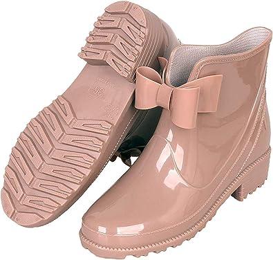 YOOEEN Bottes de Pluie Femme Bottes en Caoutchouc Bottines Cheville Antidérapant Chaussures en Caoutchouc Imperméables Chaussures de Travail de Jardin