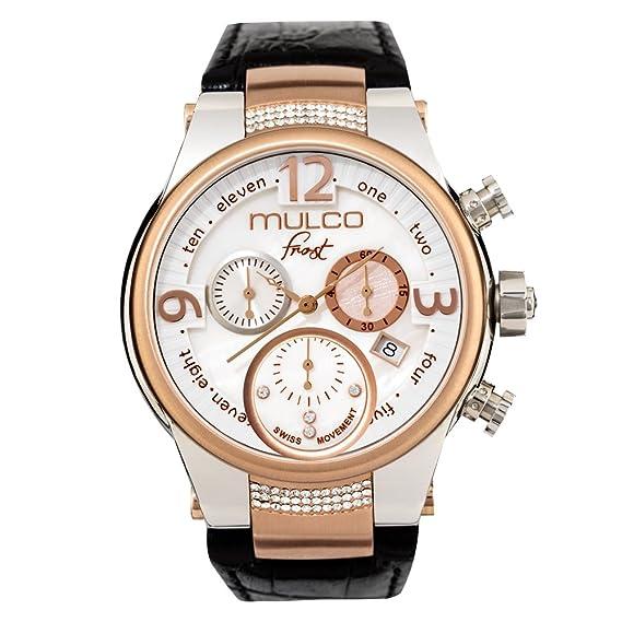 Mulco MW5 heladas - 2601 - 123 Negro Piel de banda reloj de mujer con cristales de Swarovski: MULCO FROST COLLECTION 2015: Amazon.es: Relojes