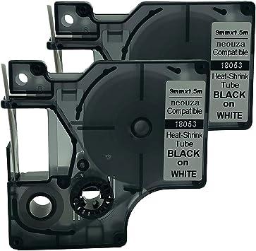 6PK 18053 Heat Shrink Tube Label Tape for DYMO Rhino Black on White 9MM