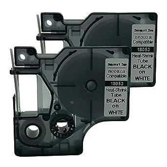 2PK Black on White 18051 for DYMO Rhino 5200 Heat Shrink Tube Label Tape 6mm