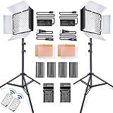 SAMTIAN LED Video Light 600 LED Camera/Studio Light Kit CRI95 3200K/5600K Camcorder Light Kit with Barndoors 75 inches Light Stand Batteries and Remote Camera Photo Light for Studio Photography, Video