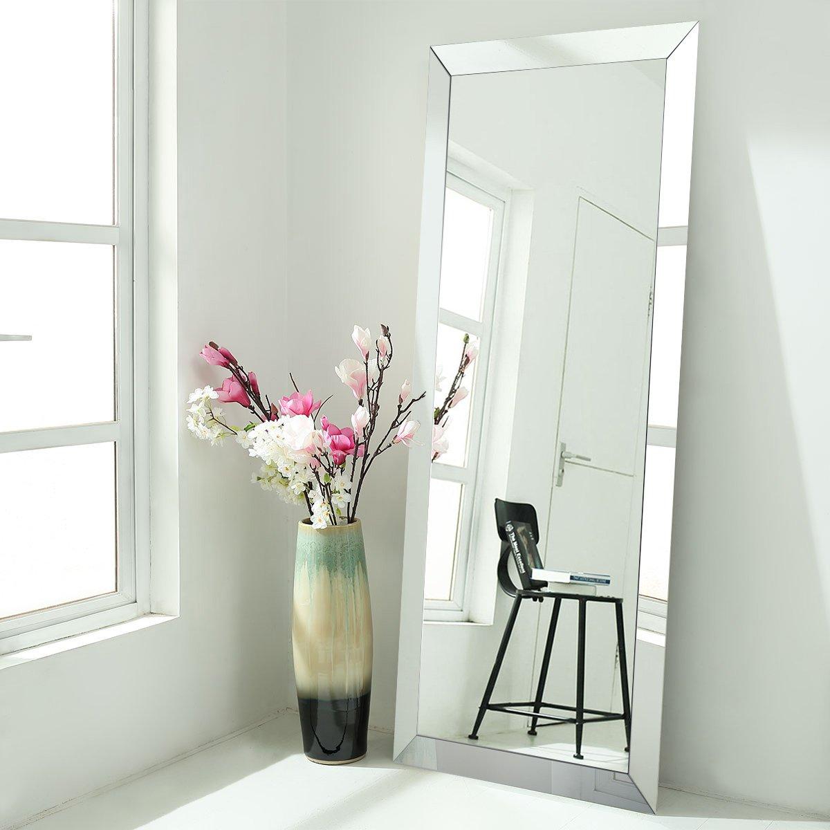 Floor Mirrors Full Length Large Size Mirrored Bevel Framed Mirror for Bedroom Sitting Room Bathroom (30'' x 70'')