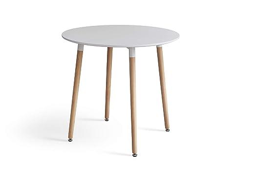WV LeisureMaster Mesa de comedor blanca moderna con patas de ...