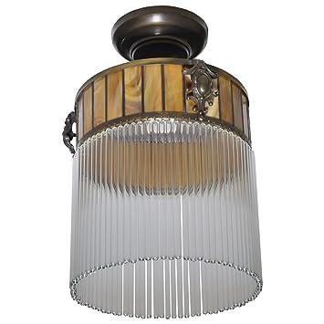 Antyki24 Art Deco Hängelampe Lampe Deckenlampe Glas Leuchte Messing ...