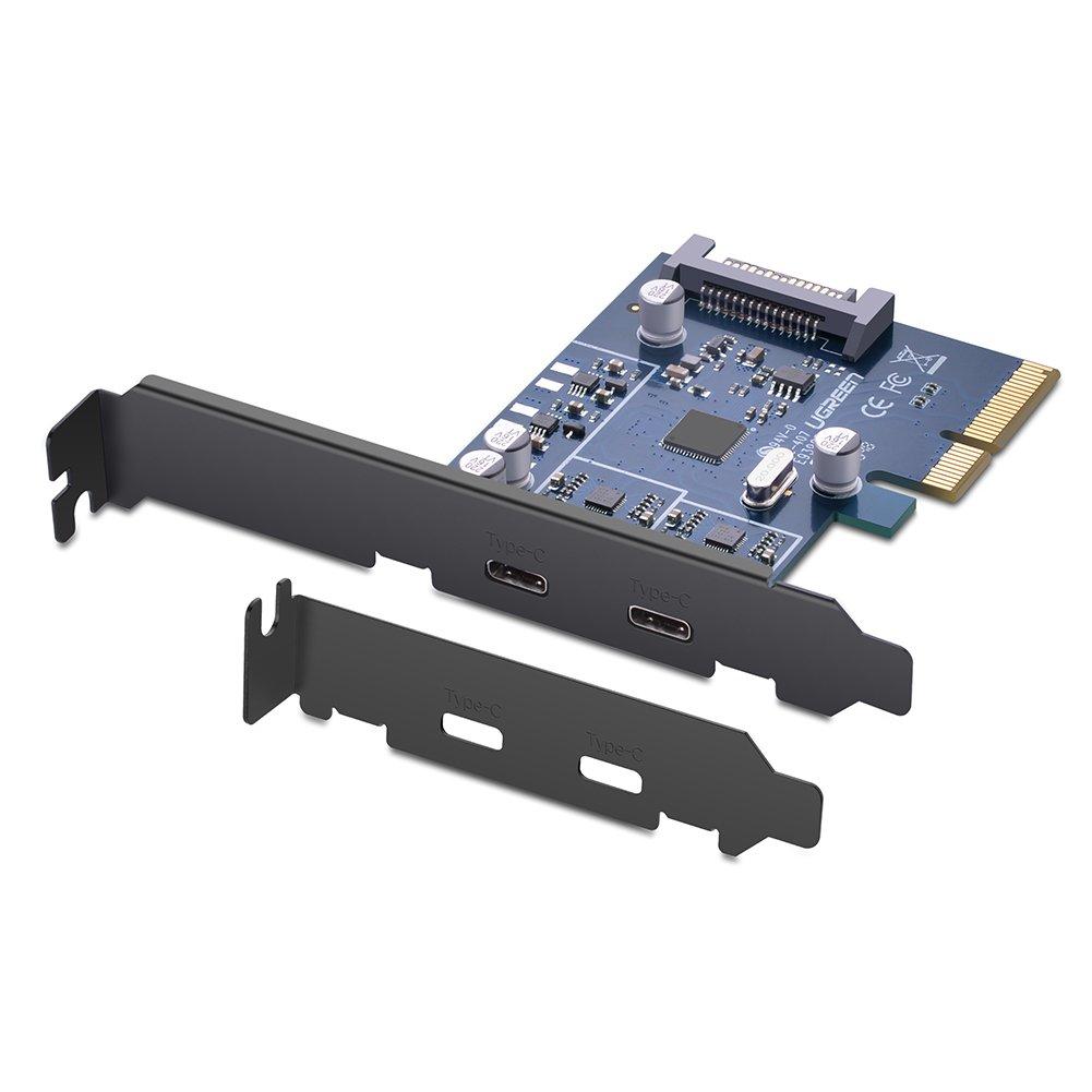 UGREEN Controlador PCIe USB 3.1 Tipo C, Tarjeta PCI Express de 2 Puertos USB C con Perfil Doble Ugreen Group Limited 30773