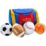 GiftsForYouNow All Star in Training Baby Sport Toy Bag and Four Plush Sports Balls - Football, Soccer, Baseball…