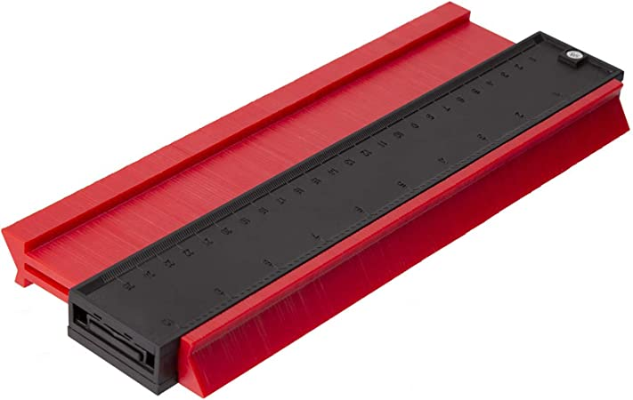Plastique irrégulier Contour outil de mesure Radiant règle bois 14.6x10.5cm