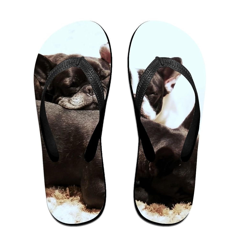 12b8aba0b Couple Flip Flops Bulldog Bro Print Chic Sandals Slipper Rubber Non-Slip  Beach Thong Slippers
