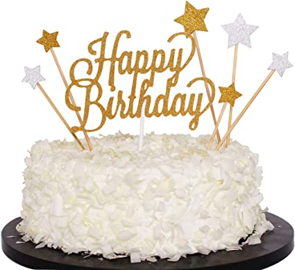 Admirable Amazon Com Sunny Zx Gold Glitter Happy Birthday Cake Cupcake Funny Birthday Cards Online Barepcheapnameinfo