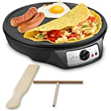 Nonstick 12-Inch Electric Crepe Maker - Aluminum Griddle Hot Plate Cooktop with Adjustable Temperature Control & LED Indicator Light, Includes Wooden Spatula & Batter Spreader (Certified Refurbished)