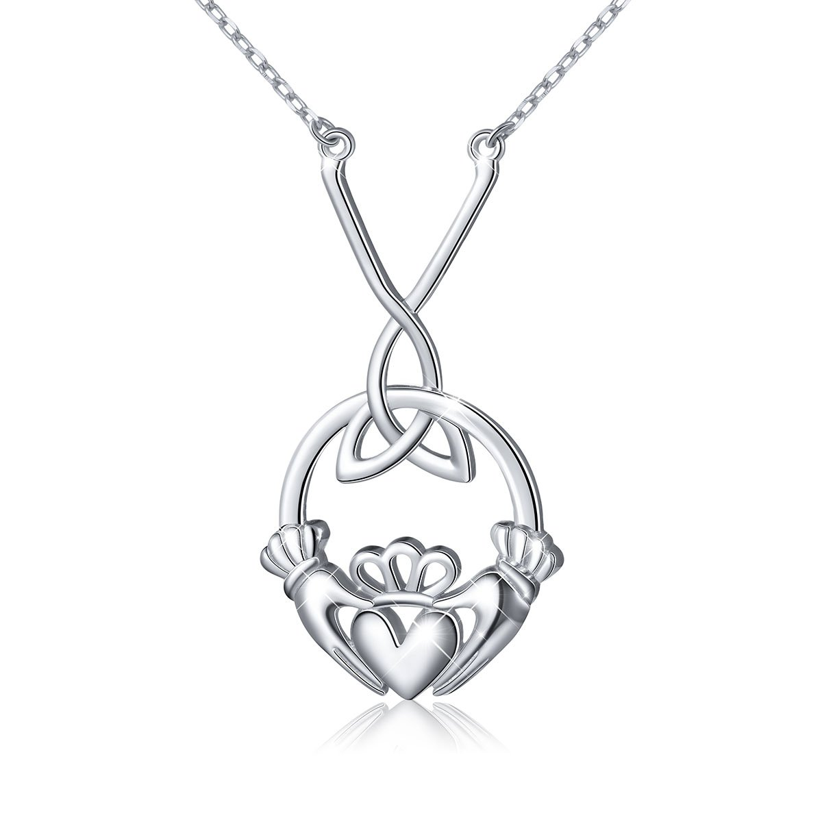 ATHENAA S925 Sterling Silver Celtic Love Kelly Hands Holding Crown Heart Claddagh Pendant Y Necklace