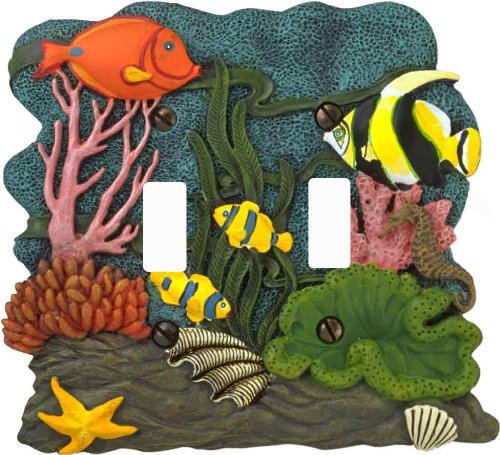 AmerTac 1903TT Tropical Fish 3D Double Toggle Wallplate (Accessory Switchplates Double Switch)