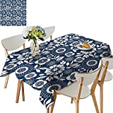UHOO2018 Fitted Polyester Tablecloth  Ornamental Lace Crochet Flowers with Round Patters Bohemian Victorian Sty Square/Rectangle Washable for Tablecloth,52x 52 inch