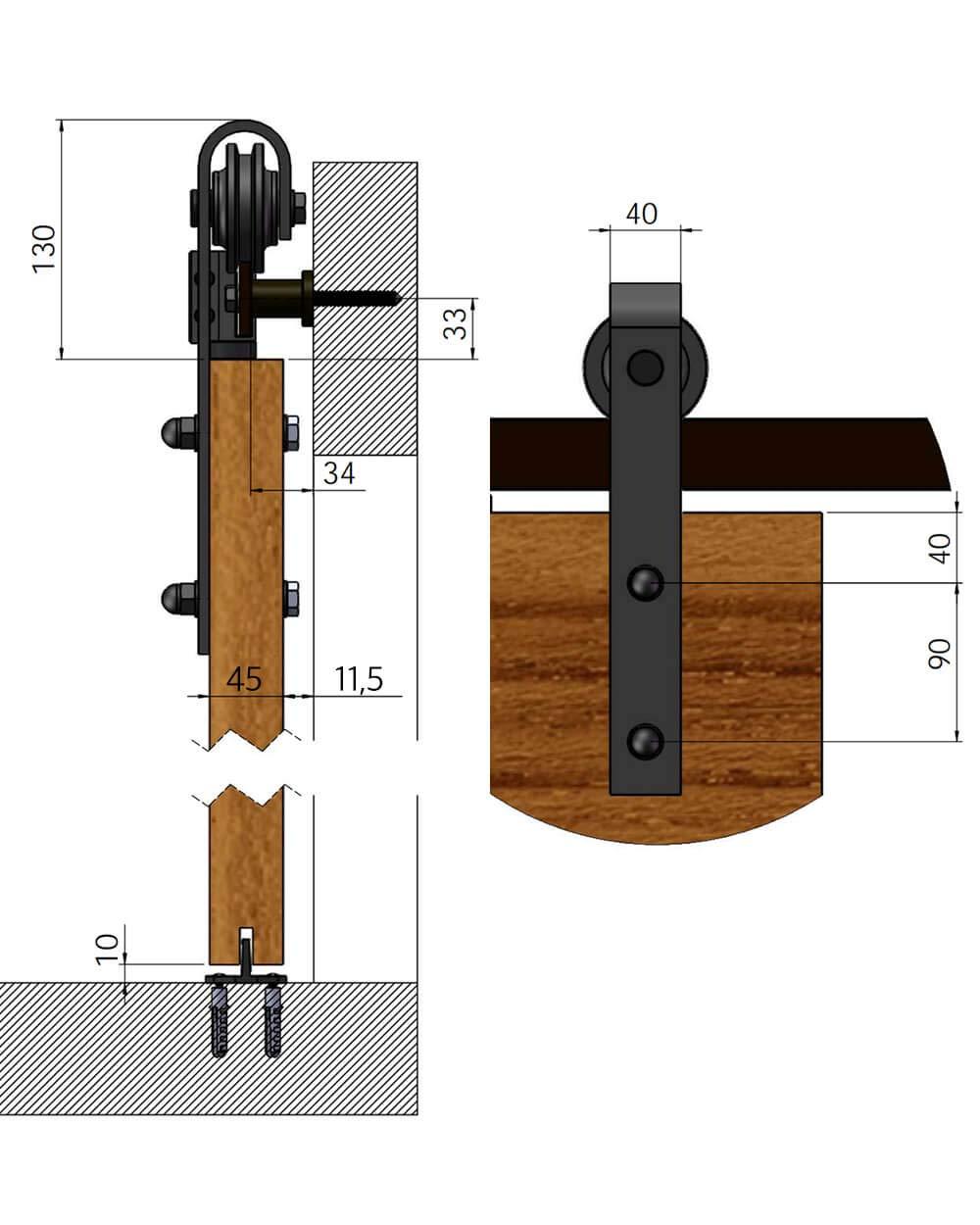 Sistema de puerta corredera recta 200 cm 3 colores Sistema de puerta corredera recta de 2 metros Juego completo con ruedas y carril