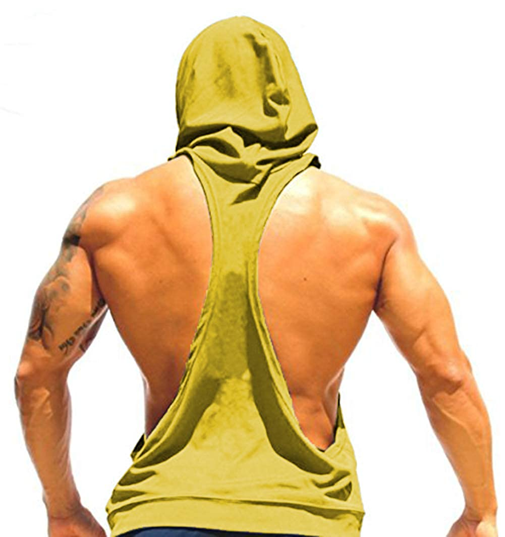 Panegy Mens Hooded Tank Top Pure Color Sleeveless Workout Fitness Pullover T-Shirt