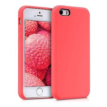 kwmobile Funda para Apple iPhone SE / 5 / 5S - Carcasa de [TPU] para teléfono móvil - Cover [Trasero] en [Coral neón]