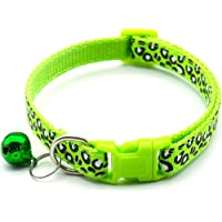 Cat Collar with Bell, Cheetah-Print Nylon Puppy Dog Collar Adjustable Kitten Collar for Puppy Dog Kitty Necklace for…