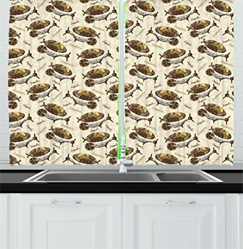 Zeppelin Decor Kitchen Curtains by Ambesonne, Military Style Aircrafts Motif in Dark Tone Flying Adventure Graphic, Window Drapes 2 Panels Set for Kitchen Cafe, 55 W X 39 L Inches, Cream Cocoa Khaki (Curtains And Crafts Style Arts)