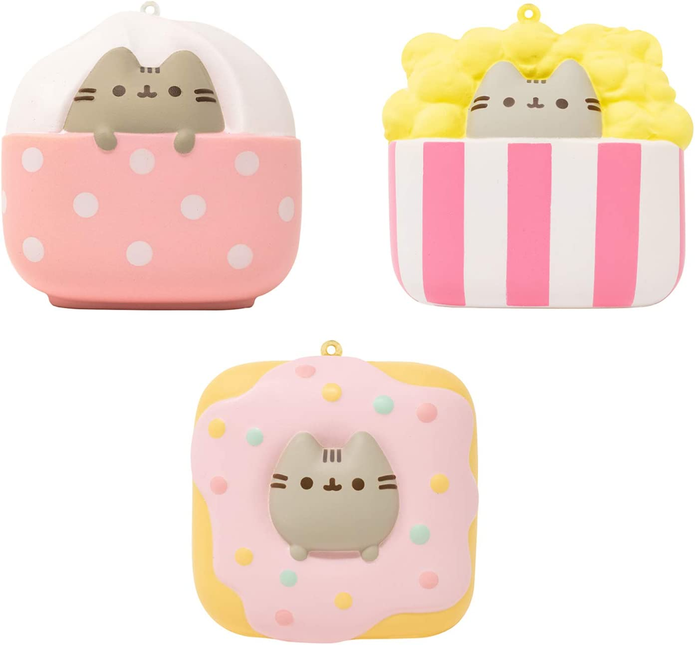 Hamee Pusheen Tabby Cat Junk Food Slow Rising Squishy Toy (Ice Cream & Popcorn & Donut, 3 Piece Set) for Birthday Gift Boxes, Party Favors, Stress Balls, Kawaii Squishies for Kids, Girls, Boys, Adults