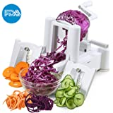 ICOCO Spiral Slicer Cutter FDA Approved With Tri-Blade for Vegetable Slicer, Onion Chopper, Fruit and Cheese Cutter Container Vegetable in Home and Kitchen