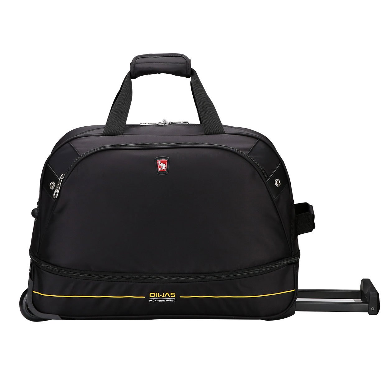 OIWAS Black Rolling Duffle Bag Wheeled Carry on Collapsible Travel Luggage Large Storage 56L plus 10L Expanded for Women and Men