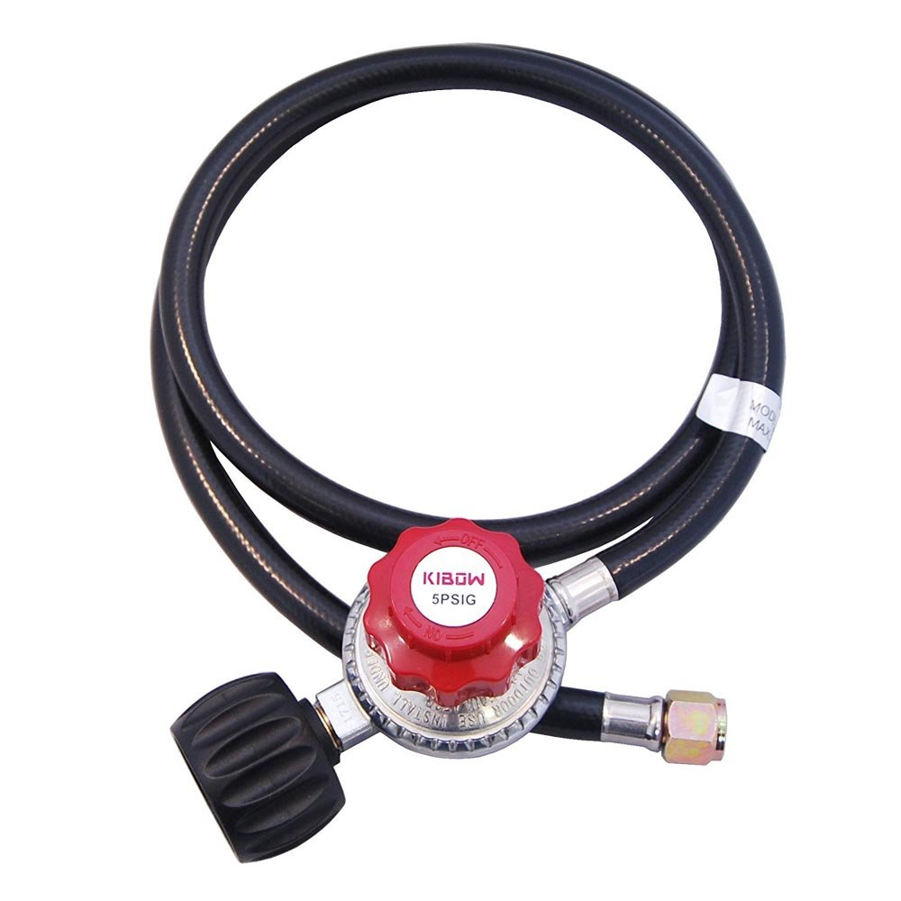 KIBOW 0~5PSIG High Pressure Adjustable Propane Regulator with 4FT Hose-Type 1(QCC 1) Connection-CSA Certified
