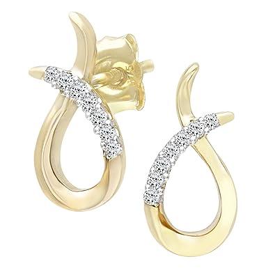 7976eedfd Naava 9 ct Yellow Gold Women Diamond Earrings: Amazon.co.uk: Jewellery
