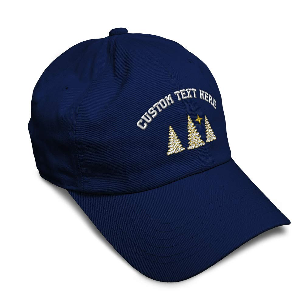 Custom Soft Baseball Cap Christmas Snow Covered Trees Embroidery Twill Cotton