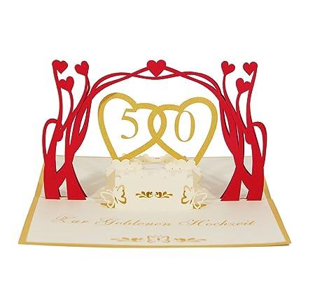 3d Kartegoldene Hochzeit I Pop Up Karte Als Glückwunschkarte Einladungskarte Geschenkkarte I Klappkarte Zum Hochzeitstag