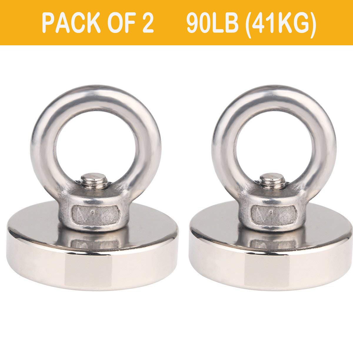 90.4 LBS Pulling Force Powerful Round Neodymium Fishing Magnet Diameter 1.4 INCH(36mm) for Magnet Fishing Magnet Metal Detector Recovery Treasure Finder (Pack of 2)