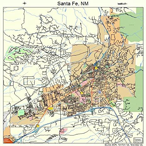 Map Of Santa Fe Nm Amazon.com: Large Street & Road Map of Santa Fe, New Mexico NM